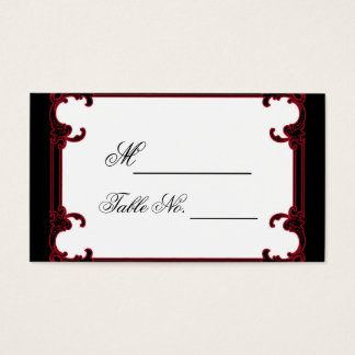 Elegant Red Gothic Frame Wedding Place Card