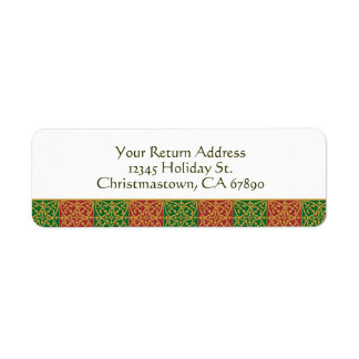 Elegant Red Green and Golds Custom Holiday Labels