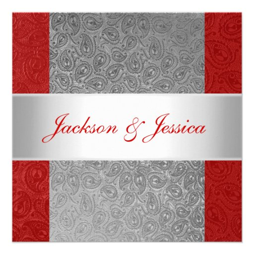 Elegant Red Grey Paisley White Engagement Party Personalized Invites
