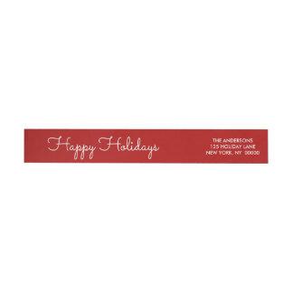 Elegant Red Happy Holidays Script Lettered Wrap Wraparound Return Address Label