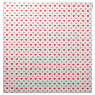 elegant red hearts and pink polka dots pattern napkin