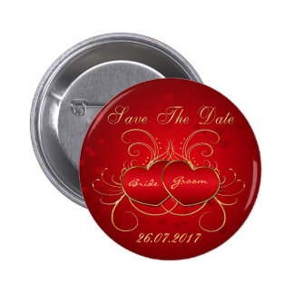 Elegant Red Hearts - Save The Date Button
