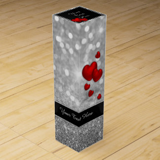 Elegant Red Hearts - Wine Gift Box