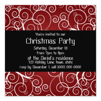 Elegant Red Holiday Party Invitations