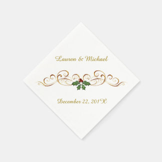 Elegant Red Holly Christmas Wedding Paper Serviettes