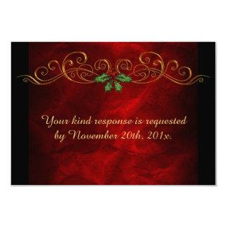 Elegant Red Holly Christmas Wedding RSVP Card