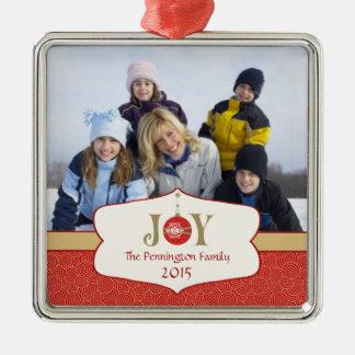Elegant red joy christmas holiday photo ornament