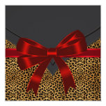 Elegant Red Leopard Party Custom Announcements