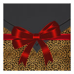 Elegant Red Leopard Party Template Custom Announcements