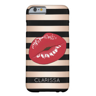 elegant red lips rose gold black stripes pattern barely there iPhone 6 case