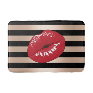 elegant red lips rose gold black stripes pattern bath mat
