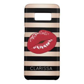 elegant red lips rose gold black stripes pattern Case-Mate samsung galaxy s8 case