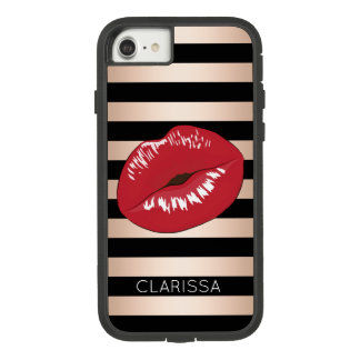 elegant red lips rose gold black stripes pattern Case-Mate tough extreme iPhone 8/7 case