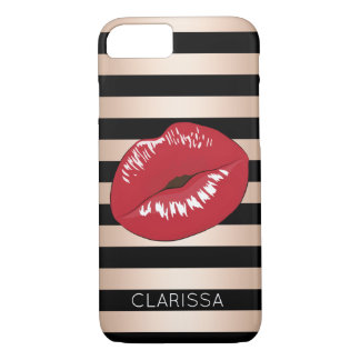 elegant red lips rose gold black stripes pattern iPhone 8/7 case