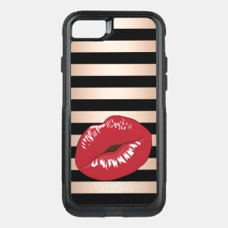 elegant red lips rose gold black stripes pattern OtterBox commuter iPhone 8/7 case