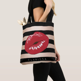 elegant red lips rose gold black stripes pattern tote bag