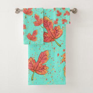 Elegant red maple fall bath towel set