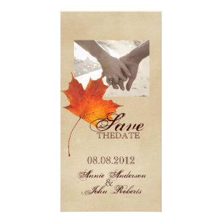 Elegant Red Maple Leaves Fall Wedding savethedate Customised Photo Card