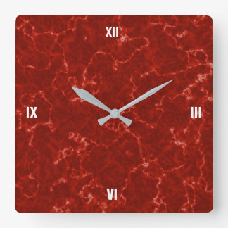 Elegant Red Marble with White Veins Square Wall Clock