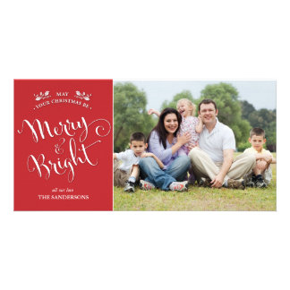 Elegant Red Merry and Bright Christmas Photo Card