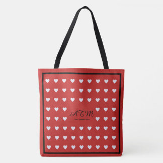 elegant red monogram tote bag with hearts
