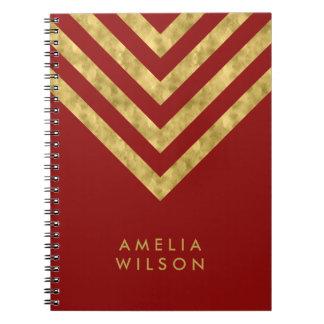 Elegant Red Name Faux Gold Chevron Pattern Notebook