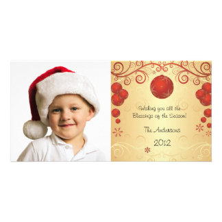 Elegant Red Ornament Holiday Christmas Swirl Personalized Photo Card