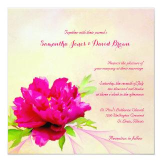 Elegant Red Peony Wedding Invitation