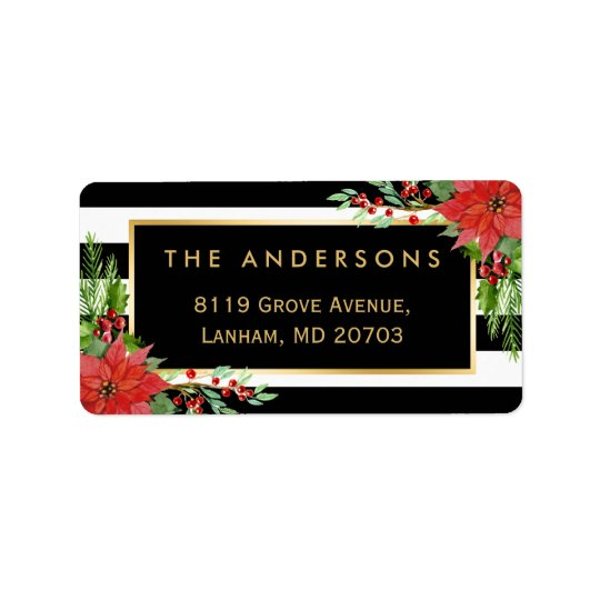 Elegant Red Poinsettia Floral Gold Frame Holiday Address Label