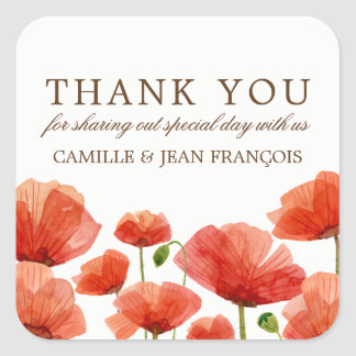 Elegant Red Poppy Flowers Weddin Wedding Thank You Square Sticker