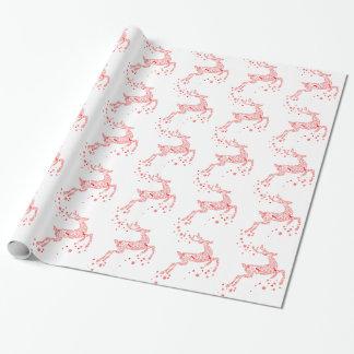 Elegant Red Reindeer Gift Wrap Paper