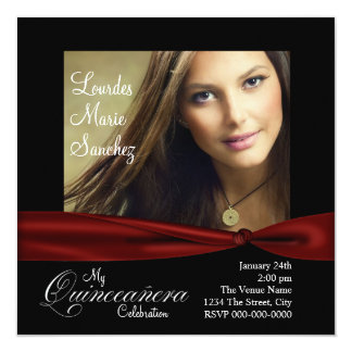 Elegant Red Ribbon Black Red Photo Quinceanera Personalized Invitations