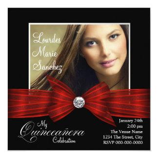 Elegant Red Ribbon Black Red Photo Quinceanera Custom Invitations