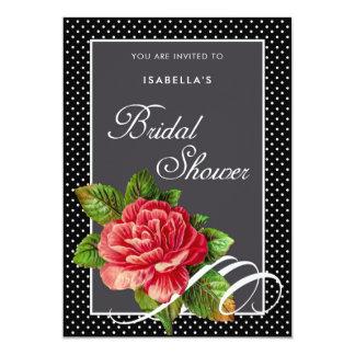 Elegant Red Rose Black Polka Dots Bridal Shower Card