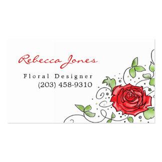 Elegant Red Rose - Business Card