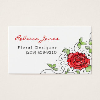Elegant Red Rose - Business Card