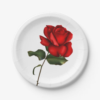 Elegant Red Rose Elegant Glam Floral Wedding Party Paper Plate