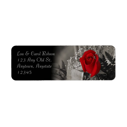Elegant Red Rose Fade Out Black and White Bouquet Return Address Label