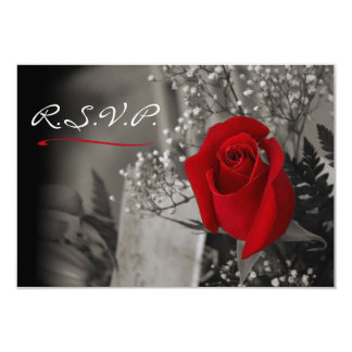 Elegant Red Rose Fade Out Black and White RSVP Card