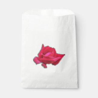 Elegant red rose favour bag