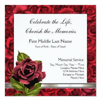 """Elegant Red Rose Funeral Announcement 5.25"""" Square Invitation Card"""