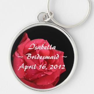 Elegant Red Rose Personalized Bridesmaid Keychain