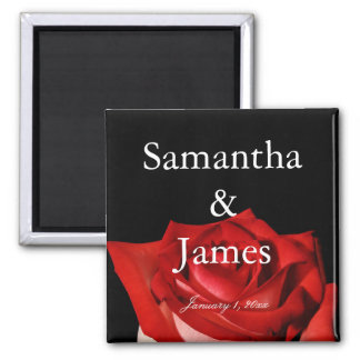 Elegant Red Rose Personalized Wedding Magnet