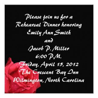 Elegant Red Rose Rehersal Dinner Invitations