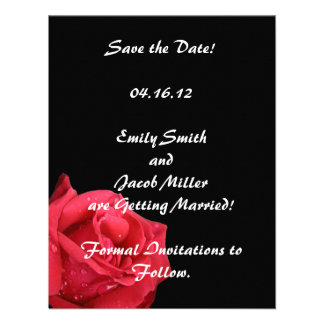 Elegant Red Rose Save the Date Cards Custom Invite