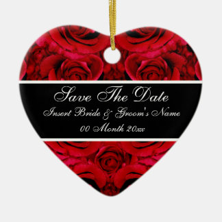 Elegant red rose save the date wedding invitations ceramic heart decoration