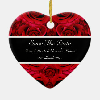 Elegant red rose save the date wedding invitations ceramic heart decoration