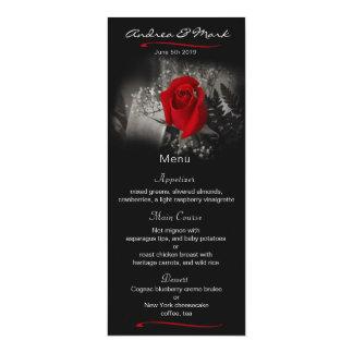 Elegant Red Rose Vignette Wedding Menu Card