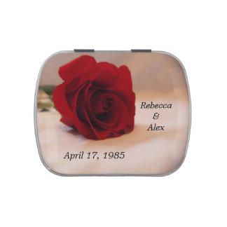 Elegant Red Rose Wedding Jelly Belly Tin