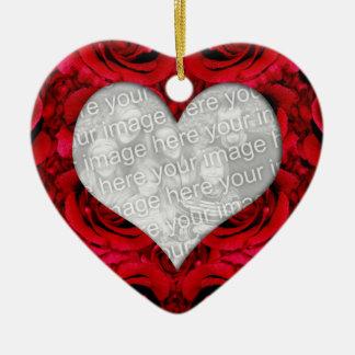Elegant red rose wedding love PHOTO INSERT Ceramic Heart Decoration